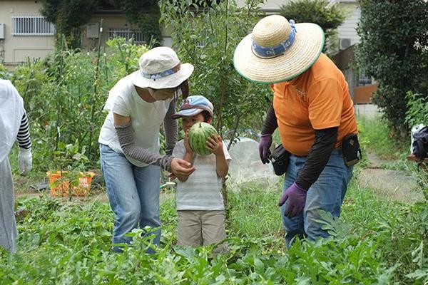 野菜の生育状況を見て、菜園アドバイザー(オレンジ色の制服の人物)が指導する