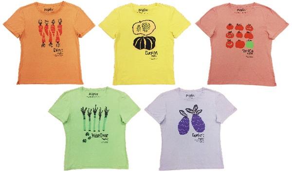 5種類の野菜を使ってTシャツを制作した(写真提供:豊島)