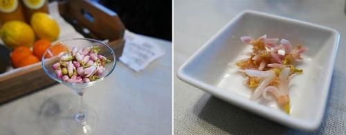 河合さんが今里さんに食材として提案したレモンの花のつぼみ(左)と、その提案を受けて今里さんが作ったピクルス。これまでにないピクルスが出来たと今里さんは言う。(写真:高山和良)