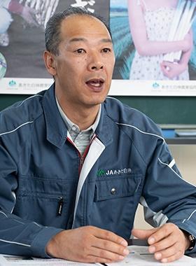 ネギの生産拡大について取り組み経緯を語るJAあきた白神の佐藤和芳氏