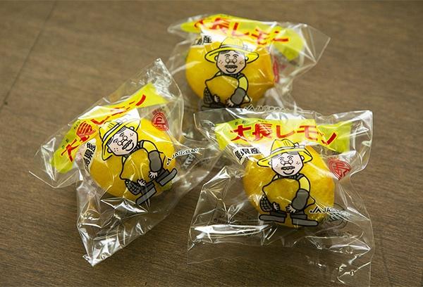 個別包装された大長レモン。手間とコストがかかり大量貯蔵に向かないのが難点だ