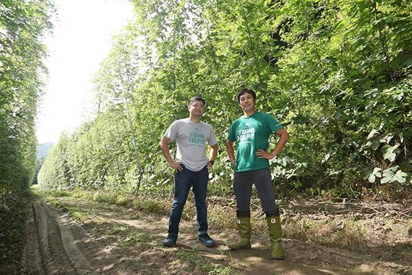 ホップ畑に立つ浅井氏と吉田氏。身の丈の倍以上もあるホップの収穫には大きな機械化投資が必須だ