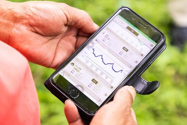 スマホのアプリで、ハウス内の温度や湿度などをリアルタイムで確認できる