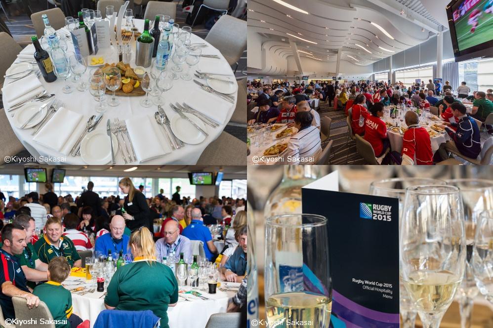 ラグビーワールドカップ2015 イングランド大会での『スポーツホスピタリティ™』展開の様子。特別な空間とおもてなしのサービスによって、ビジネス・コミュニケーションが変わる。